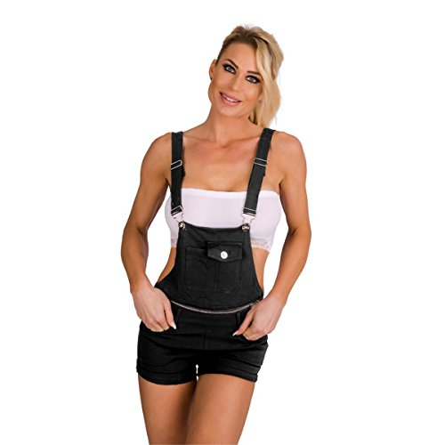 Fashion4Young 10576 Damen Latzhose Hotpants Short Latzjeans Kurze Hose m. Trägern Hot Pants (schwarz, S=36)