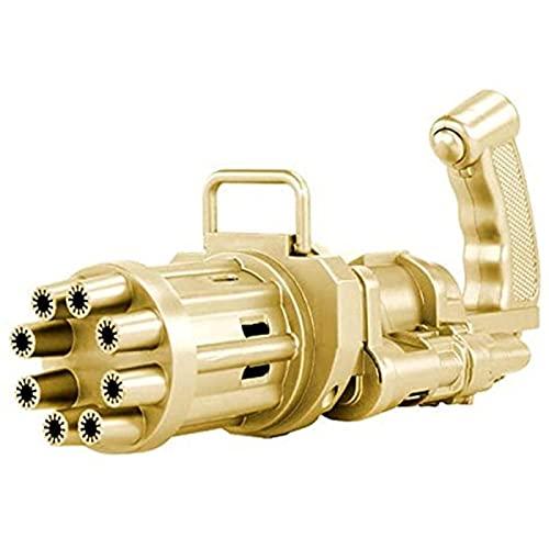 SONG Máquina de Burbujas Gatling para Niños, Pistolas de Burbujas Automáticas de Gran Cantidad de Ocho Agujeros, Juguetes Geniales para Exteriores, Regalo para Niños y Niñas,Gold