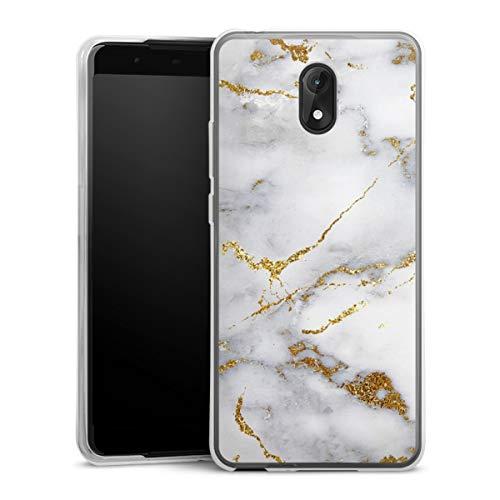DeinDesign Silikon Hülle kompatibel mit Wiko Lenny 5 Hülle transparent Handyhülle Glitzer Erscheinungsbild Marmor Muster