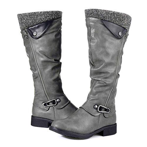 Botas Altas Invierno Mujer, Camfosy Botas de Nieve Caña Ancha Zapatos Mujer Cuña Planos Sintética Peluche Jinete Bajo…