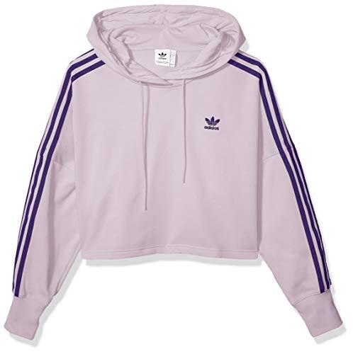 adidas Originals Women's Cropped Hooded Sweatshirt, soft vision, Large