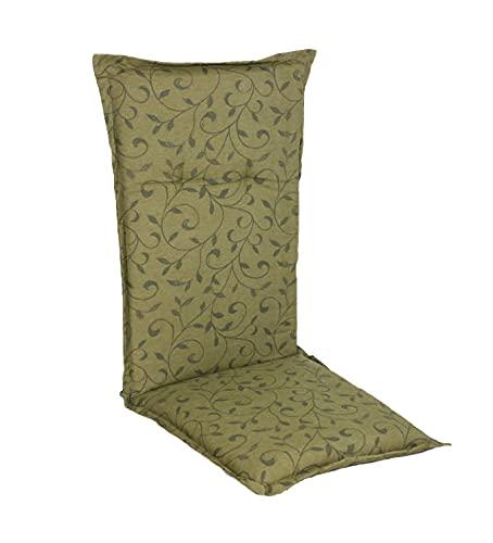 Spetebo Pflegeleichtes Polster für Hochlehner - Green Tea - Gartenstuhl Auflage mit Haltegurt - Sitzkissen Stuhlauflage (Modell 13)