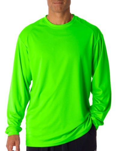 Badger T shirt 4104 Blank Men's B-Core Long-Sleeve Performance Tee Lime L