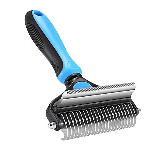 Peine de perro, herramienta de peine de desenredamiento y degradación, 2 lados para cepillo de aseo de mascotas y enredos para perros y gatos con pelo largo, medio y corto, azul