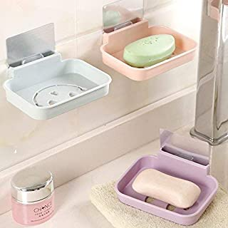 Elegant soap Box BX-084 Bathroom Soap Dish Sink Sponge Holder Candy Color Magic Sticker Waterfall Soap Dish - Pink (Color : Khaki)