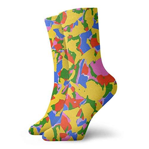 Kevin-Shop Farbige Kompressionsstrümpfe aus Papierschnitzel Fun Casual Crew Socken, dünne Socken, kurzer Knöchel für den Außenbereich, Athletic Moisture Wicking