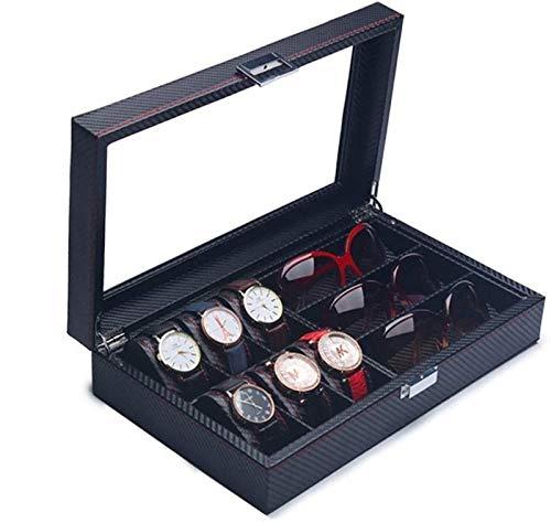 YIJIN Caja de Reloj de Cuero con Ranura, Organizador de Vitrina, Almacenamiento de Joyas de Vidrio, Cuero Negro de PU con Tapa de Vidrio,C