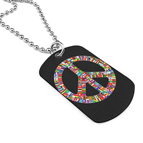 World Flag Peace Sign Jewelry Pendant Military Brand Necklace Metal Dog Tag