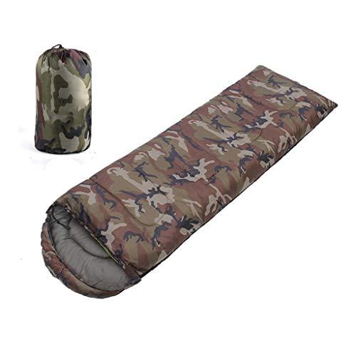 Camouflage Vert Armée Sac de Couchage Léger et Confortable Tissu Etanche Sac de Couchage en Duvet Chaud et Confortable avec Sac de Compression étanche Idéal pour Le Camping Randonnée Randonnée