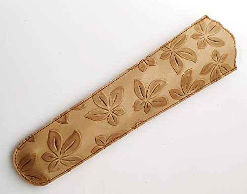 Funda de abanico de piel, beige hojas. Protector de abanico de cuero...
