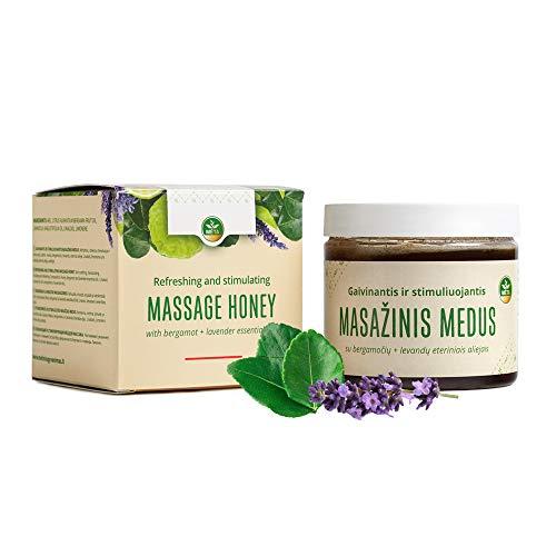 Huile de massage pour sauna bio - crème de miel naturelle pour sauna - crème de miel de haute qualité sans produits chimiques (Bergamote + Lavande)