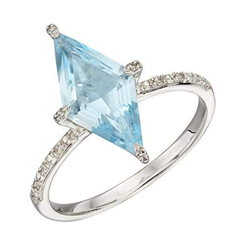 Elements Gold - Anello in oro bianco 9 kt con topazio blu e diamanti e oro 9 ct, 58 (18.5), colore: Argento