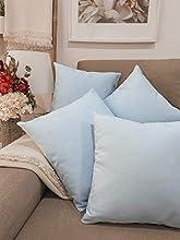 Pack 4 fundas de cojines para sofá EFECTO LINO suave, 16 COLORES fundas para almohada sin relleno, cojín decorativo grande para cama, salón. Almohadón elegante en varios tamaños.(Azul claro, 35x35cm)