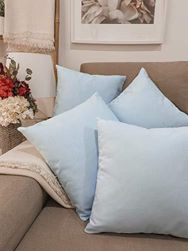 Pack 4 fundas de cojines para sofá EFECTO LINO suave, 16 COLORES fundas para almohada sin relleno, cojín decorativo grande para cama, salón. Almohadón elegante en varios tamaños.(Azul claro, 45x45cm)