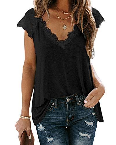Lantch T-Shirt Damen Oberteile Top V-Ausschnitt T Kurzarm Tee Shirts Spitze Sommer Blusen (abk,l)