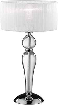 Relaxdays Lámpara de mesa, Forma de piña, Pantalla de tela