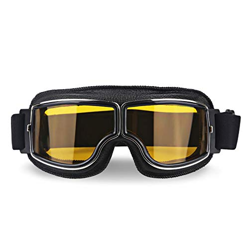 Aolvo Occhiali da moto vintage, alta definizione, con protezione contro i raggi UV, utili anche per lo snowboard, antivento, da uomo Black+yellow