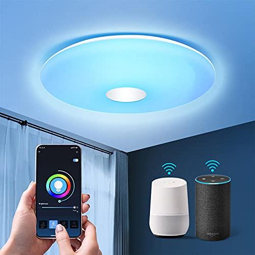 Aigostar Wifi Lámpara LED de techo Regulable, RGB, 18W Equivalente a 75 W, 1300LM, Lampara de techo inteligente, compatible con Alexa/Google Home, para baño, salón, habitacion infantil, 34 x 8 cm.