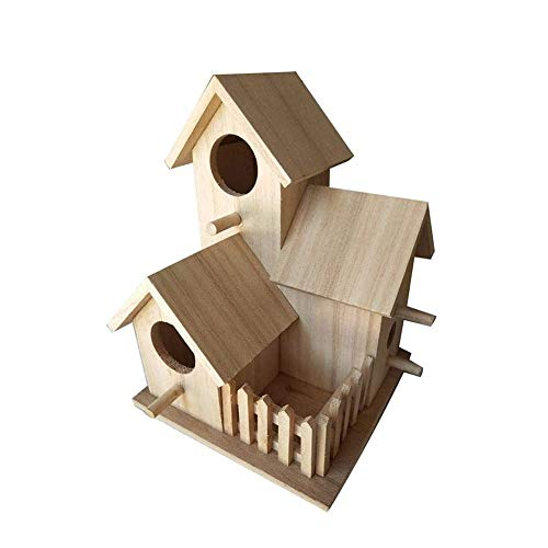 YYDZ Bird wooden house with yard Bird's Nest Hanging Villa feeding breeding Outdoor Home Decoration, unfinished wood Ready To Paint or to decorate (Color : 1)