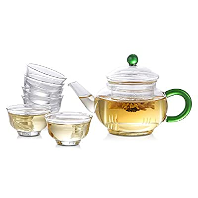Flower Teapot Set - Stovetop Safe Lead-Free Glass Teapot(300ML) with Removable Glass Infuser and 6 Pcs Cups for Blooming, Loose Leaf Tea Sampler