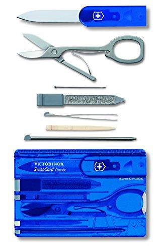 Victorinox Swiss Card, Swiss Made Pocket Tool, Credit Card Size, 10 Functions, Pen, Scissors, Blue Transparent 1