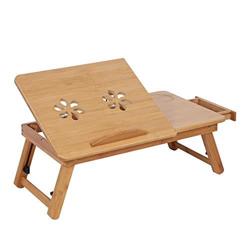 Mesa de bambú para computadora portátil, estante ajustable de bambú, cama para dormitorio, escritorio para regazo, dos flores, bandeja para lectura de libros, soporte para surfear, leer, escribir, com