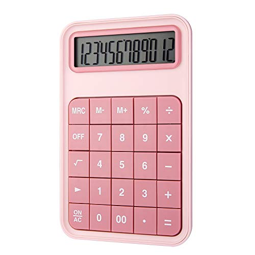 EooCoo Calcolatrice da Tavolo, Standard Calcolatrice con display LCD grande a 12 cifre per Ufficio, Scuola, Famiglia, Contatore del negozio - Rosa