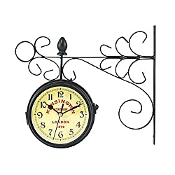 wyingj European Style Vintage-Inspired Double Sided Wall Clock Silent & Non-Ticking Wrought Iron Antique-Look Black Round Retro Station Clock
