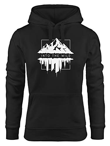 Neverless Hoodie Damen Into The Wild Berge Skyline Kapuzen-Pullover Frauen schwarz S