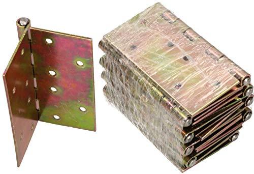 KOTARBAU® 10 Stück Türscharniere 100 mm x 100 mm Gerollt Verzinkt Gelb Kantige Scharniere Möbelband Türband Kistenband Schatullen Schrankscharniere