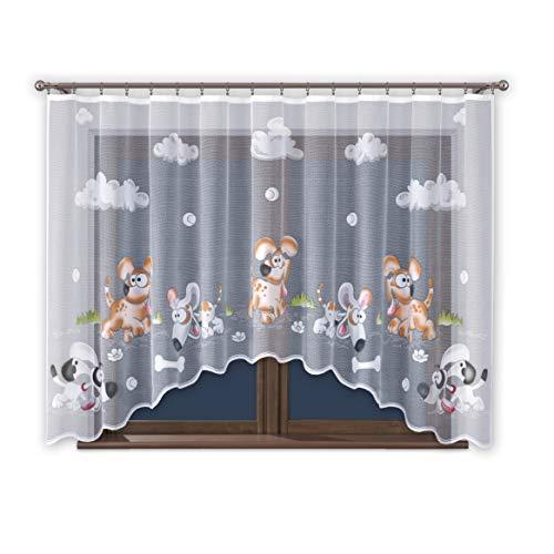ProMag cortina cortina con fruncido, habitación de los Niños Niños Niño Niña Color Blanco 300cm de ancho Animales Diseño visillo transparente banda universal
