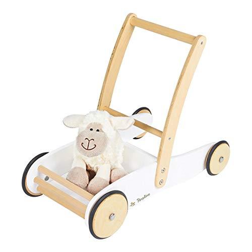 Pinolino Andador Uli de madera con sistema de frenado, andador con ruedas de madera engomadas, para niños de 1 a 6 años, color blanco