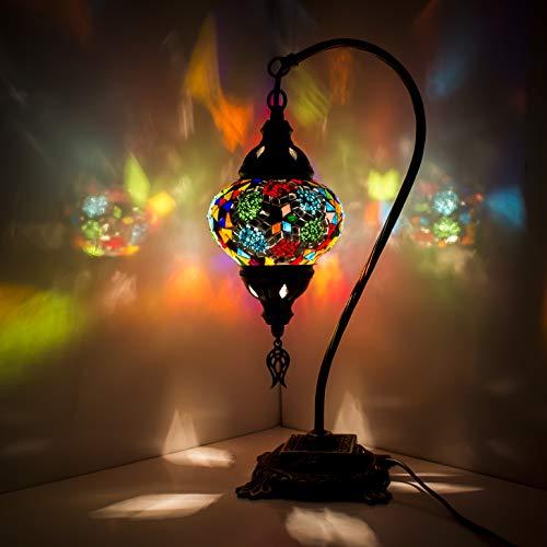 Abat-Jour Lampada a mosaico Lampada da tavolo tradizionale in ottone anticato con banchieri Lampada da scrivania in stile turco in vetro stile Tiffany per soggiorno Camera da letto