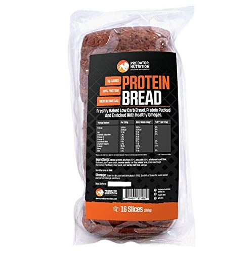 Predator Nutrition Low Carb High Protein Bread 100% Natural Ingredient, Source of Fibre & Healthy Omegas(Loaf 16 Slices)