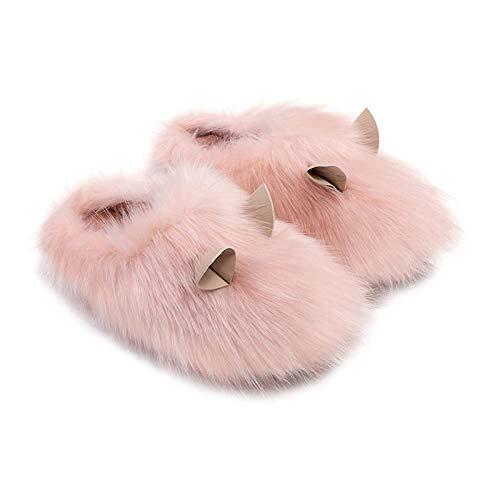 ASY Zapatillas de Felpa Guinea Pig Shape Home Mujeres Lindas Parejas Indooras Cálidas Zapatillas para Mujer Muchacha (Color : 40-41, Size : Pink)