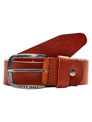 JACK & JONES JJIPAUL JJLEATHER BELT NOOS, Cinturón Hombre, Marrón (Mocha Bisque), 90 cm (Talla del fabricante: 90)