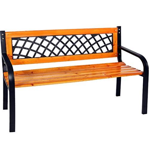Elegante en massieve parkeerbank van mat en hout tuinbank 120 x 52 x 74 cm zitbank kleur bruin/zwart