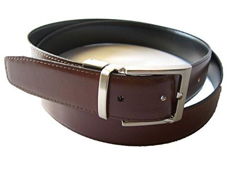 YOJAN PIEL CINTURON DE PIEL REVERSIBLE (PIEL DE UBRIQUE) NEGRO Y MARRON (95 CMS.) | Cinturon elegante para vestir en Bodas y Eventos Formales | Cómodo y ajustable