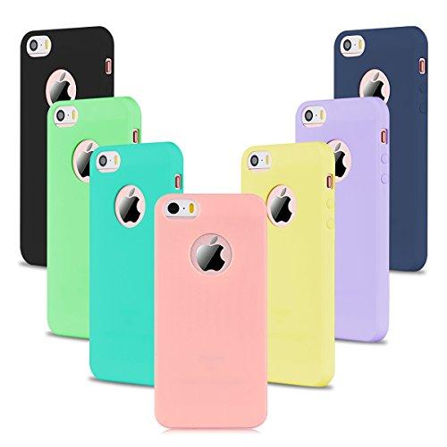 7 x Etui iPhone SE, Etui iPhone 5S, SpiritSun Etui Coque TPU Slim Bumper Souple Housse de Protection Flexible Case Couverture Antichoc Mince Silicone Cover Rose Noir Jaune Bleu Violet Vert Bleu Marin