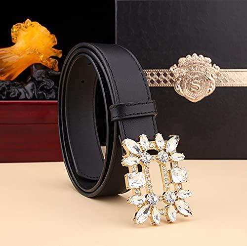 Bolso de pantalón de negocios de capa superior con cinturón de cuero para mujer con hebilla de cobre con incrustaciones de diamantes, cinturón de diseño dorado brillante de vaquera occidental
