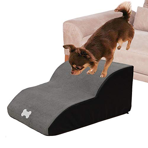 N/P Pet Steps Stairs, Soft Foam Non-Skid Pet Step Ladder, Dog Cats Stairs Ramp Sofa Bed Couches Ladder for Small Or Older Dog, Washable Cover,...