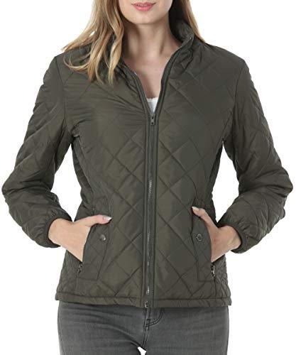 Dilgul Damen Jacke Steppjacke Leicht Herbst Winter Jackets Stehkragen Winddicht Warm Mantel mit Tasche Armeegrün Medium