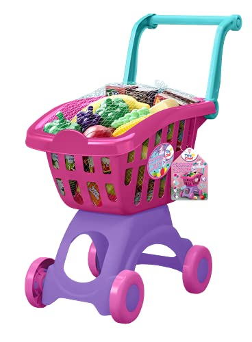 Toy Chef - Colorful Unicorn Shopping Cart with Fruit Set for Kids, Pretend Play Grocery Store, Play Food Set for Toy Kitchen