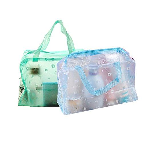 Trousse de Toilette Mode Petit Floral Transparent en PVC, AIUIN Set de Voyage dans Bagages à Main, Sac Cosmétiques pour Hommes et Femmes 2Pcs