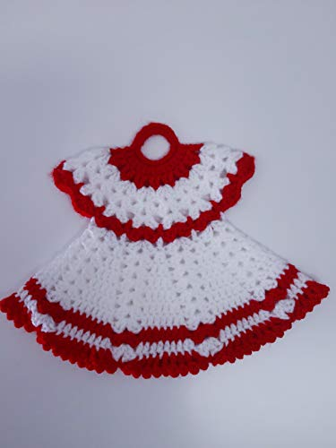 Agarradera de olla o Adorno de cocina vestido Blanco/Rojo
