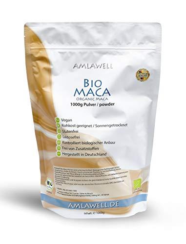 AMLAWELL Bio Maca Pulver - 1000 g Macapulver mit wertvollen Nährstoffen, Aminosäuren, Kohlenhydraten