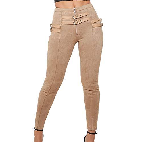 Bleistifthosen Damen Freizeithose Hohe Taille Leder Hosen mit Gürtel Einfarbig Tights Leggings Skinny Hose Elegant Elastic Pants Slim Jeans...