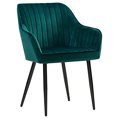 SONGMICS Esszimmerstühle, 2er Set, Sessel, Polsterstühle mit Armlehnen, Metallbeine, Samtbezug, Sitzbreite 49 cm, max. 110 kg, für Arbeitszimmer, Wohnzimmer, Schlafzimmer, petrolfarben LDC087Q02