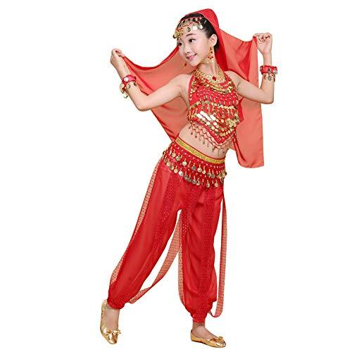 uirend Danza Ropa Niña Vestidos - Kid's Belly Dance Halter Top Pantalones Harem Disfraces de Halloween Princesa Ropa de Gasa Fiesta Cosplay Dancewear