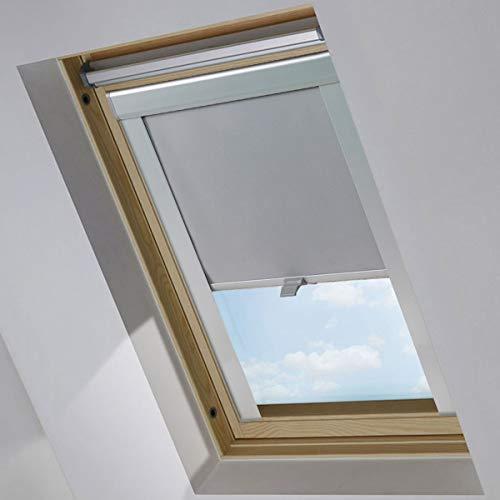 iKINLO Dachfensterrollo 61.3x116cm - M08/308 Grau Beschichtung für Velux Verdunkelungrollos Dachfenster UV Schutz Thermorollos Springrollos ,Profilfarbe der Griffleisten: Silber